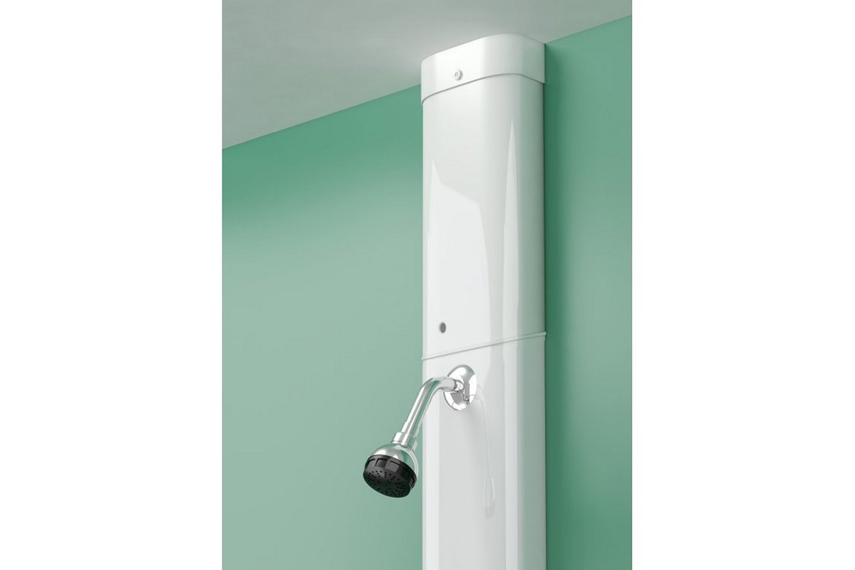 Pipe cover with ILTDU access slot over swivel shower head - Horne showers