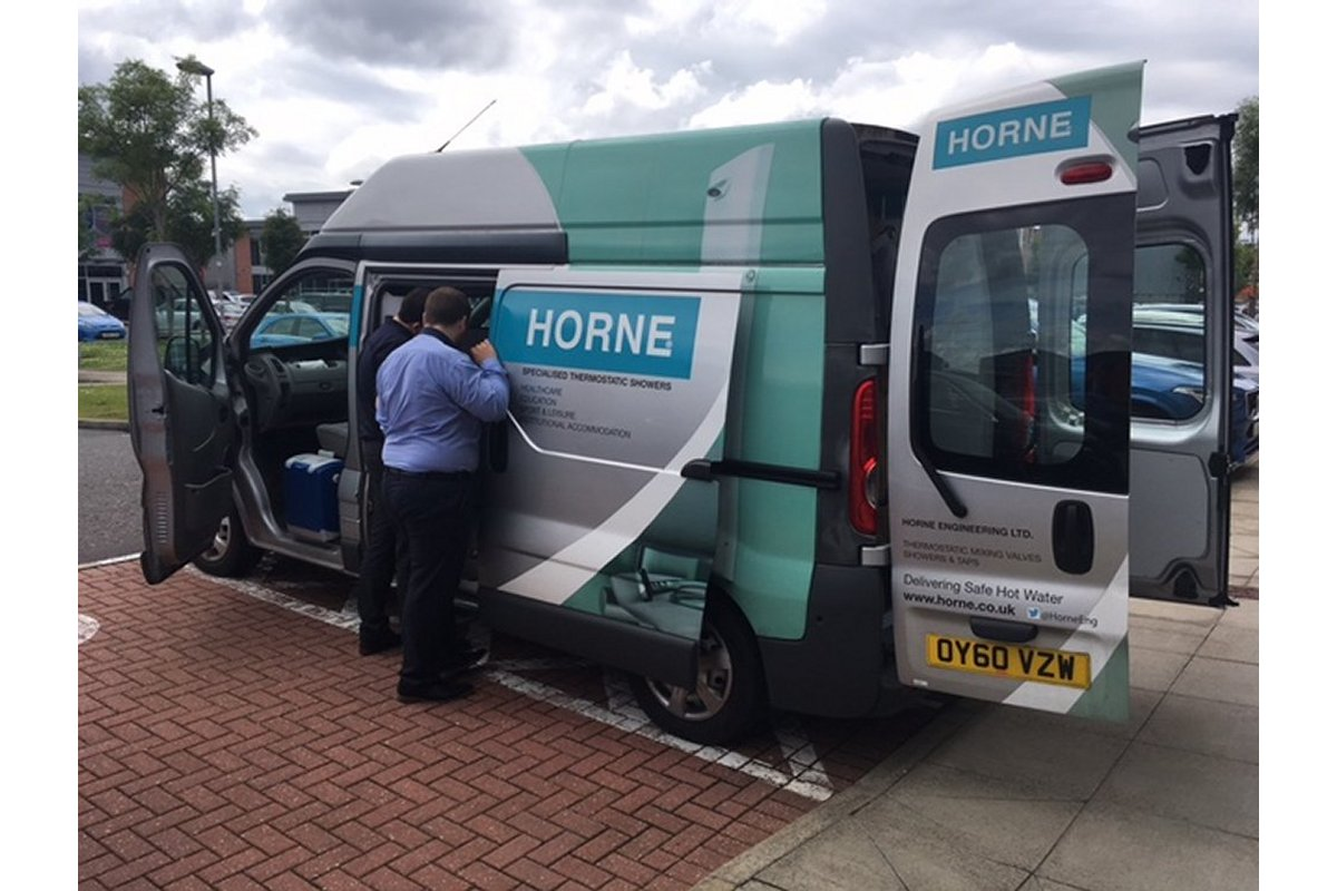 Horne mobile showroom visiting Hulley & Kirkwood Glasgow