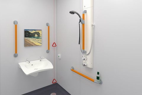 T1Y8A2L shower in dementia en-suite with highly visible supportive grab and riser bar