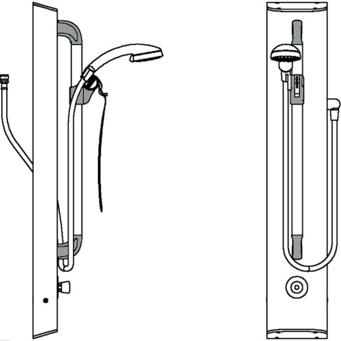 Line Drawing Horne shower panel T307B